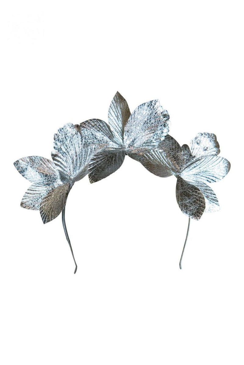 Morgan & Taylor Adaline Leaf Fascinator on a Headband in Silver