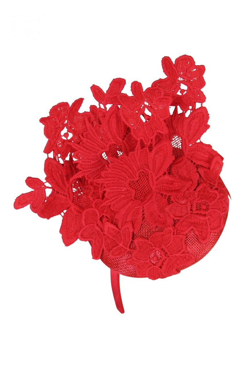 Morgan & Taylor Violetta Lace Beret in Red on a Headband