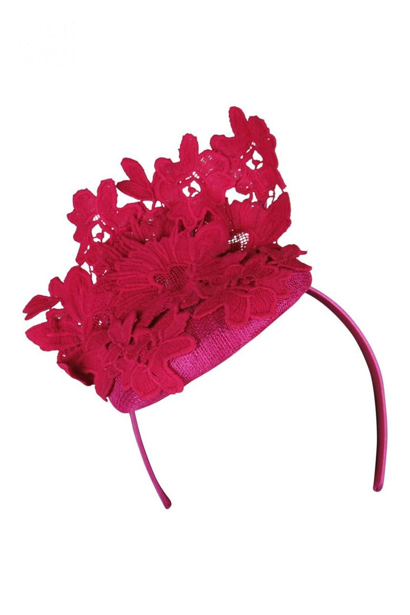 Morgan & Taylor Violetta Lace Beret in Hot Pink