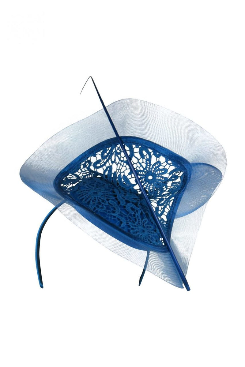 Morgan & Taylor Margo Felt Base Fascinator with Lace in Royal Blue