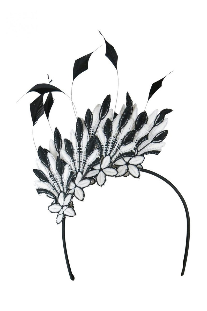 Morgan & Taylor Isabella Lace Fascinator in Black & White