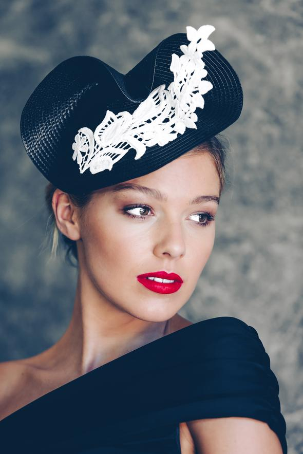 Morgan & Taylor Mia Twist Fascinator in Navy with Navy Lace Detail