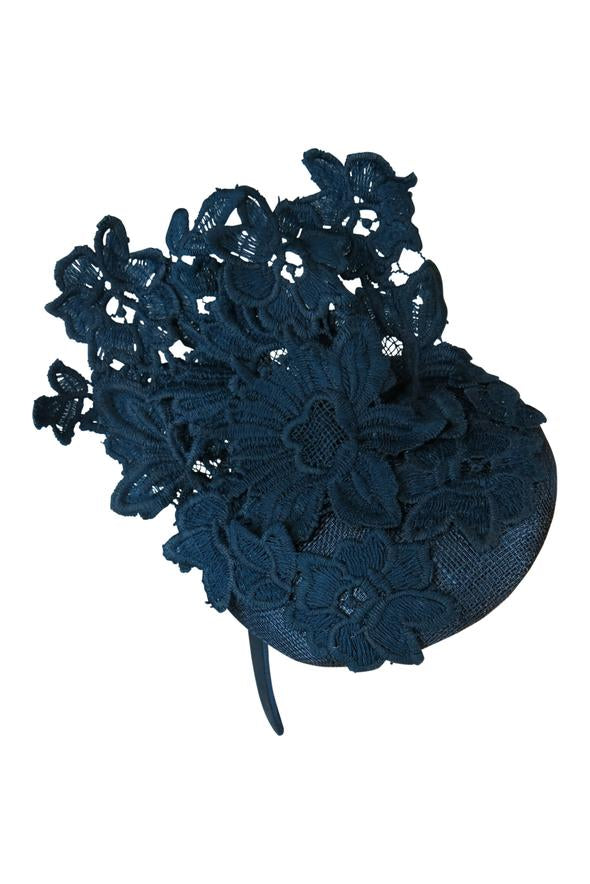 Morgan & Taylor Violetta Lace Beret in Navy on a Headband