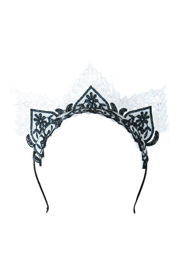 Morgan & Taylor Gracia Lace Crown in Black and White