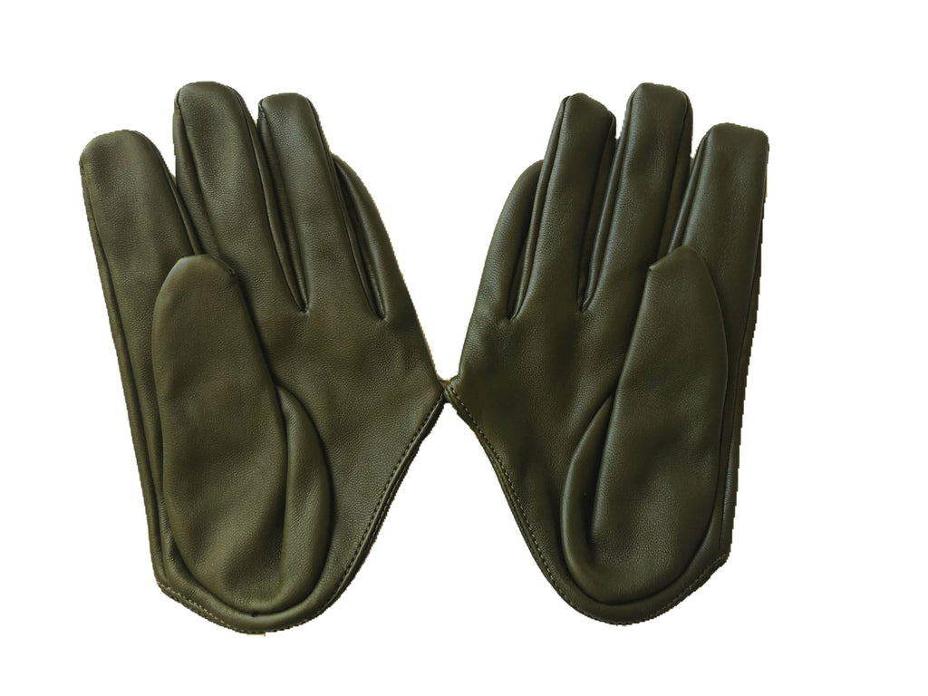 Get Racy Half Palm Gloves in Dark Olive Green