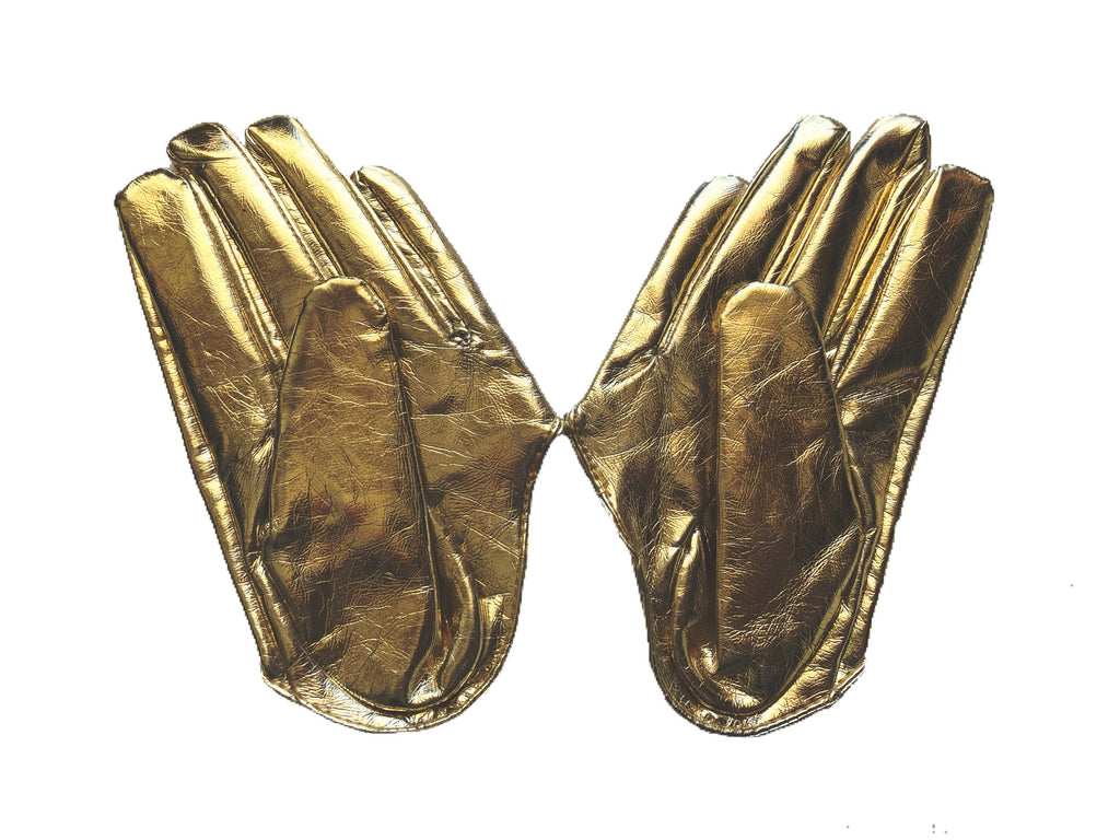 Get Racy Half Palm Gloves in Gold Shiny