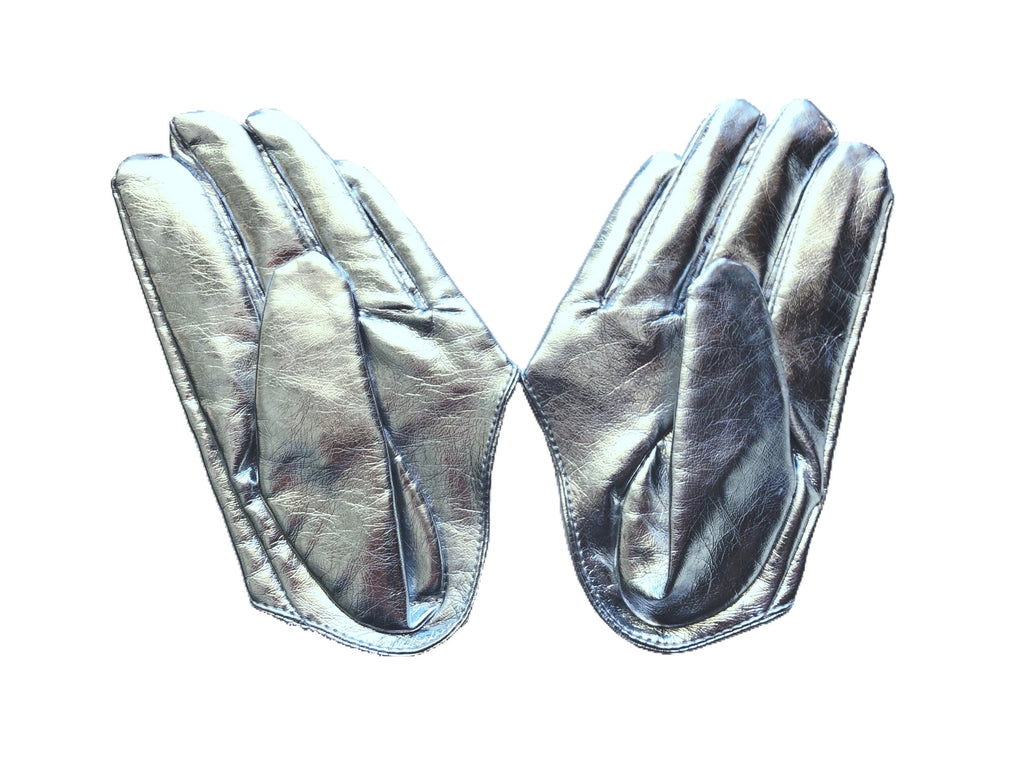 Get Racy Half Palm Gloves in Silver Shiny
