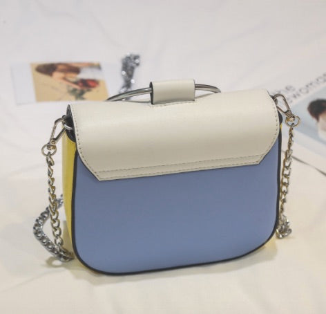 Get Racy Ring Handle Saddle Handbag in Blue, Yellow  & White