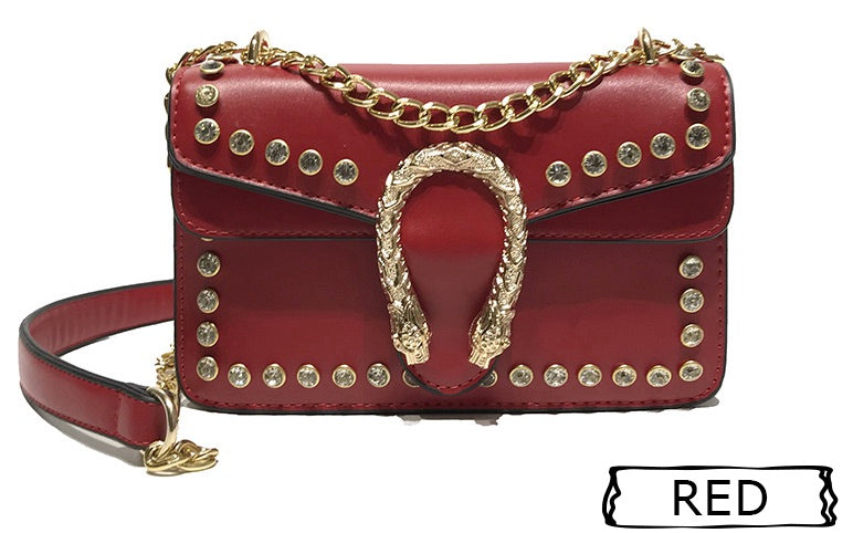 Get Racy Shoulder Bag in Red with Tiger Head Closure