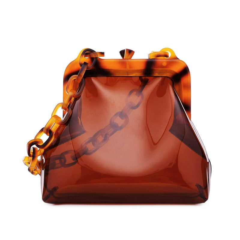 Get Racy Transparent Bag in Brown with Plastic Chain