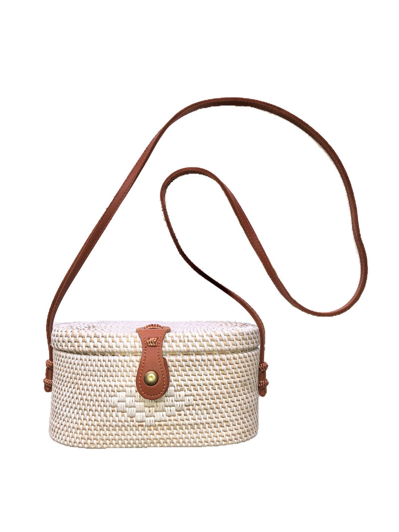Get Racy Rattan Oval Bag in White & Natural