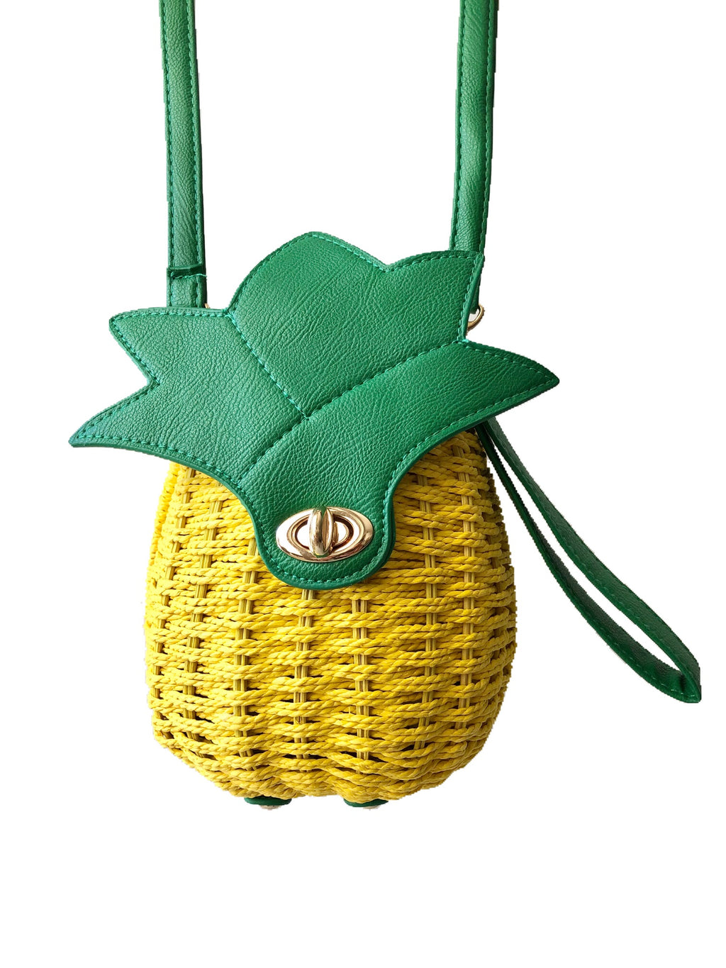 Get Racy Rattan Pineapple Bag in Yellow Green