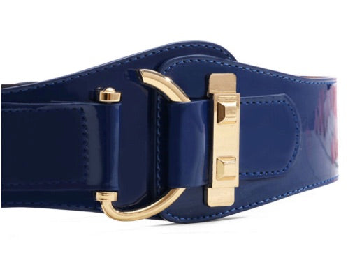 Faux Patent Leather Belt in Navy with a Golden Closure