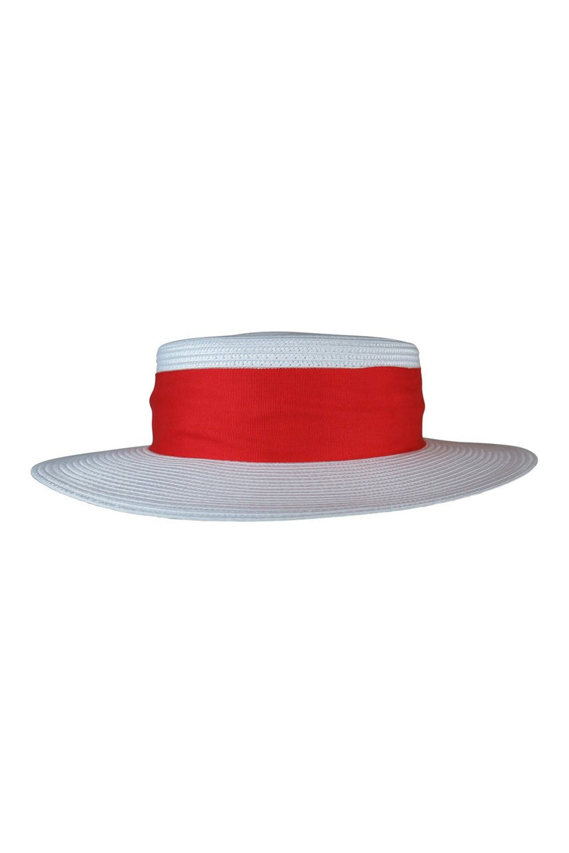 Morgan & Taylor Jordyn  White Boater Hat with Red Ribbon