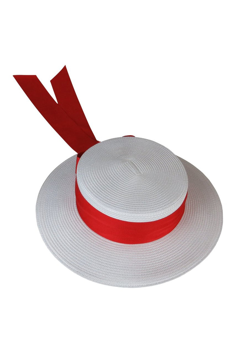 Morgan & Taylor Jordyn  White Boater Hat with Red Ribbon (DEMO)
