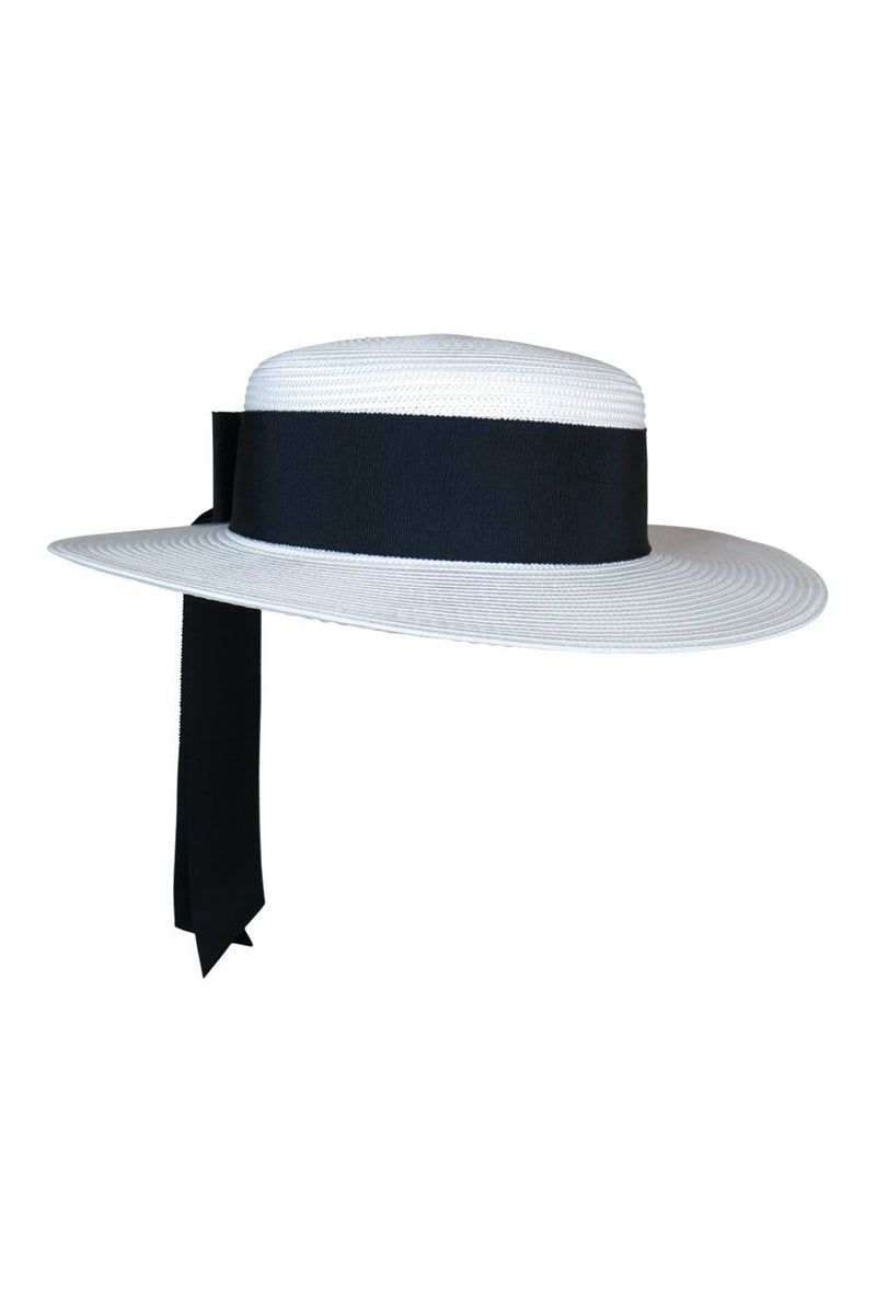 Morgan & Taylor Jordyn Boater Hat in White with Navy Ribbon