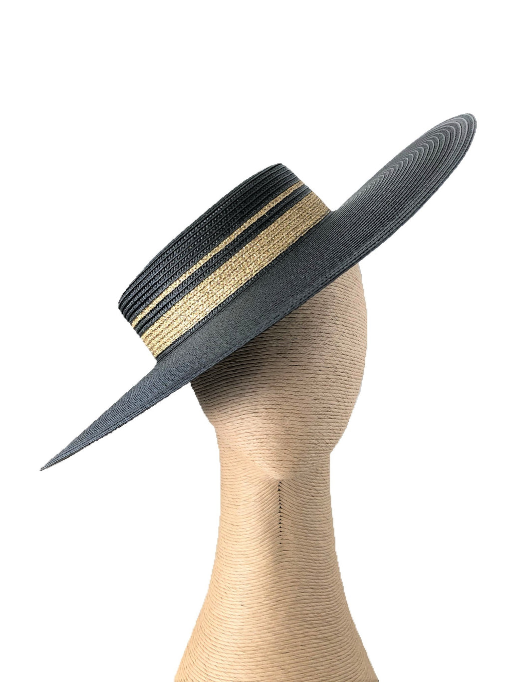 Morgan & Taylor Athena Boater Hat in Black & Gold