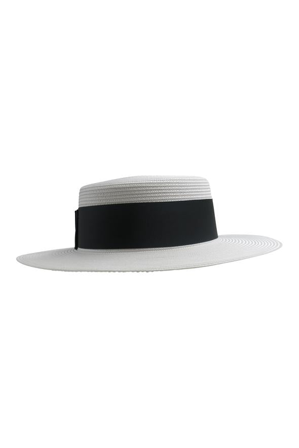 Morgan & Taylor Berkley Boater Hat in White Black