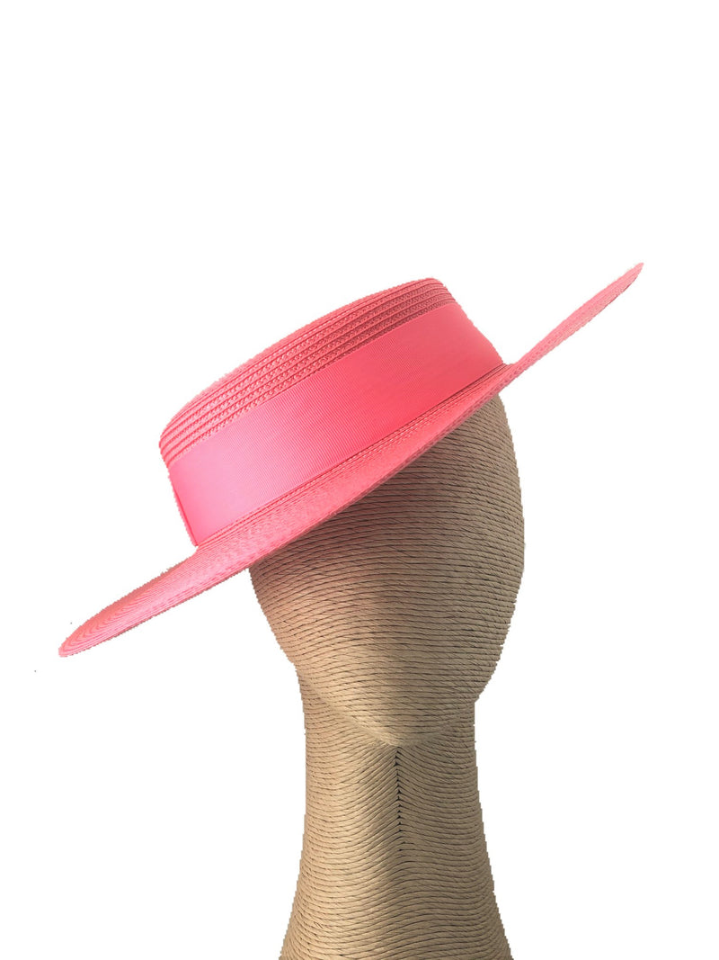 Morgan & Taylor Amora Boater Hat in Coral