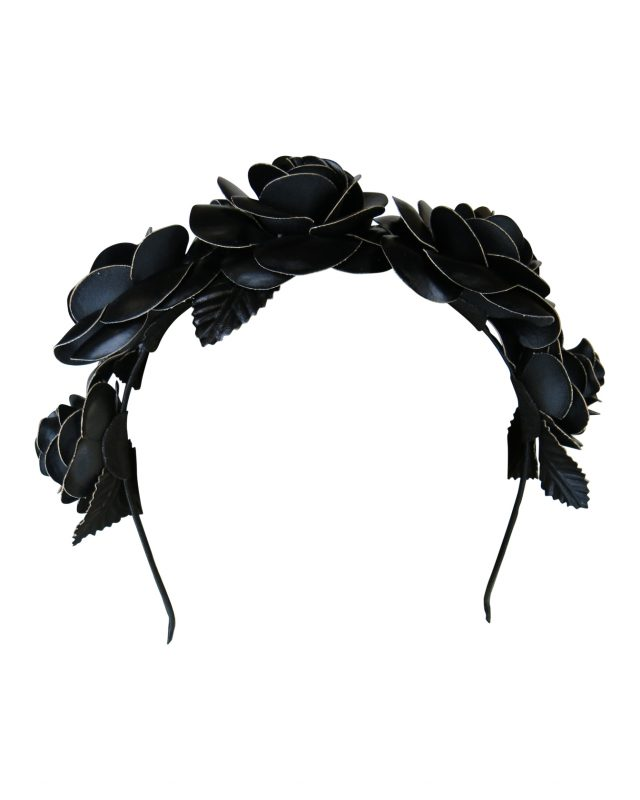 Morgan & Taylor Rose Fascinator on a Headband in Black