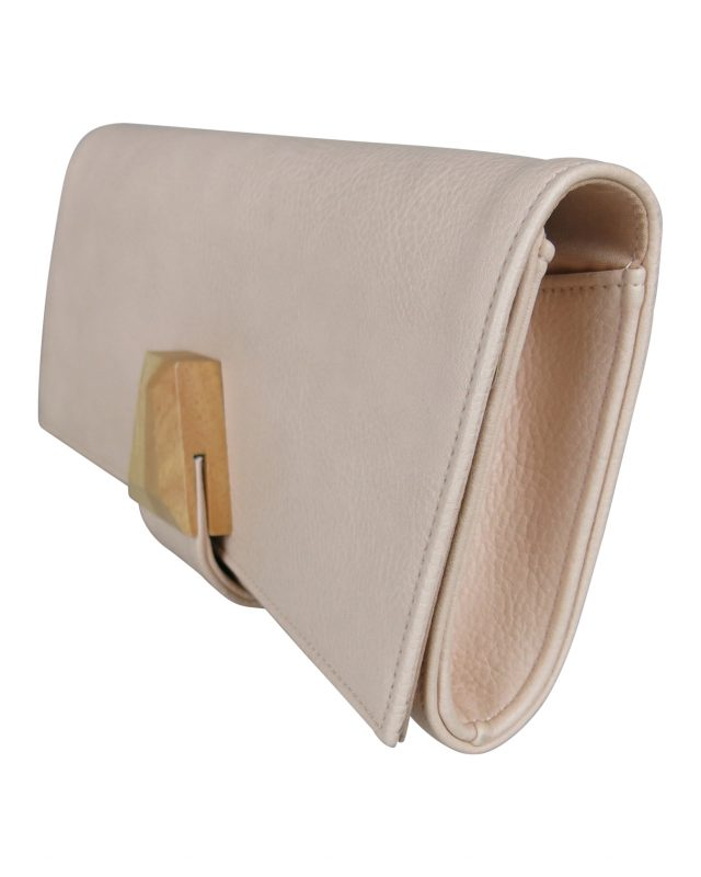 Morgan & Taylor Monique Clutch in Rose Cream with Wood Look Clasp