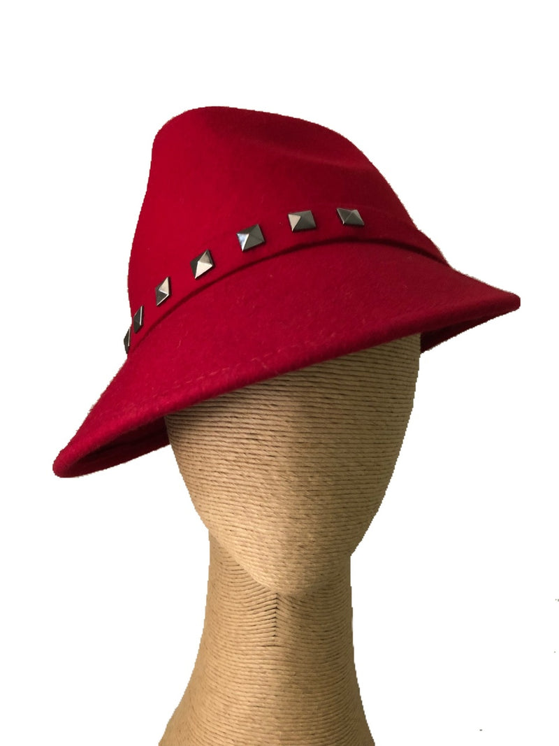 Max Alexander Charlie Red Felt Hat with Studs