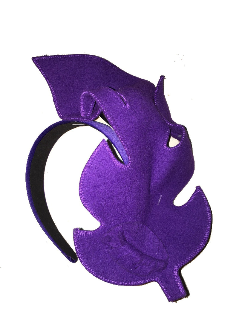 Max Alexander Purple Felt Leaf Fascinator on a Headband