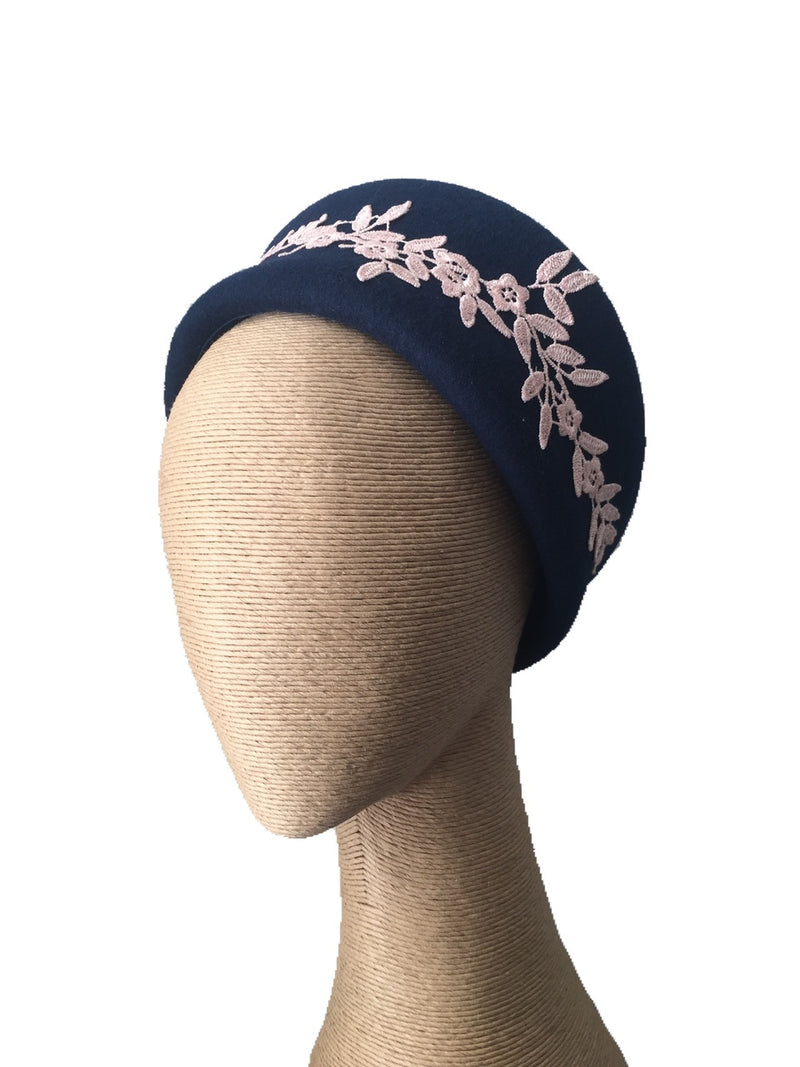 Max Alexander Jackie Felt Hat in Navy with Pink Lace