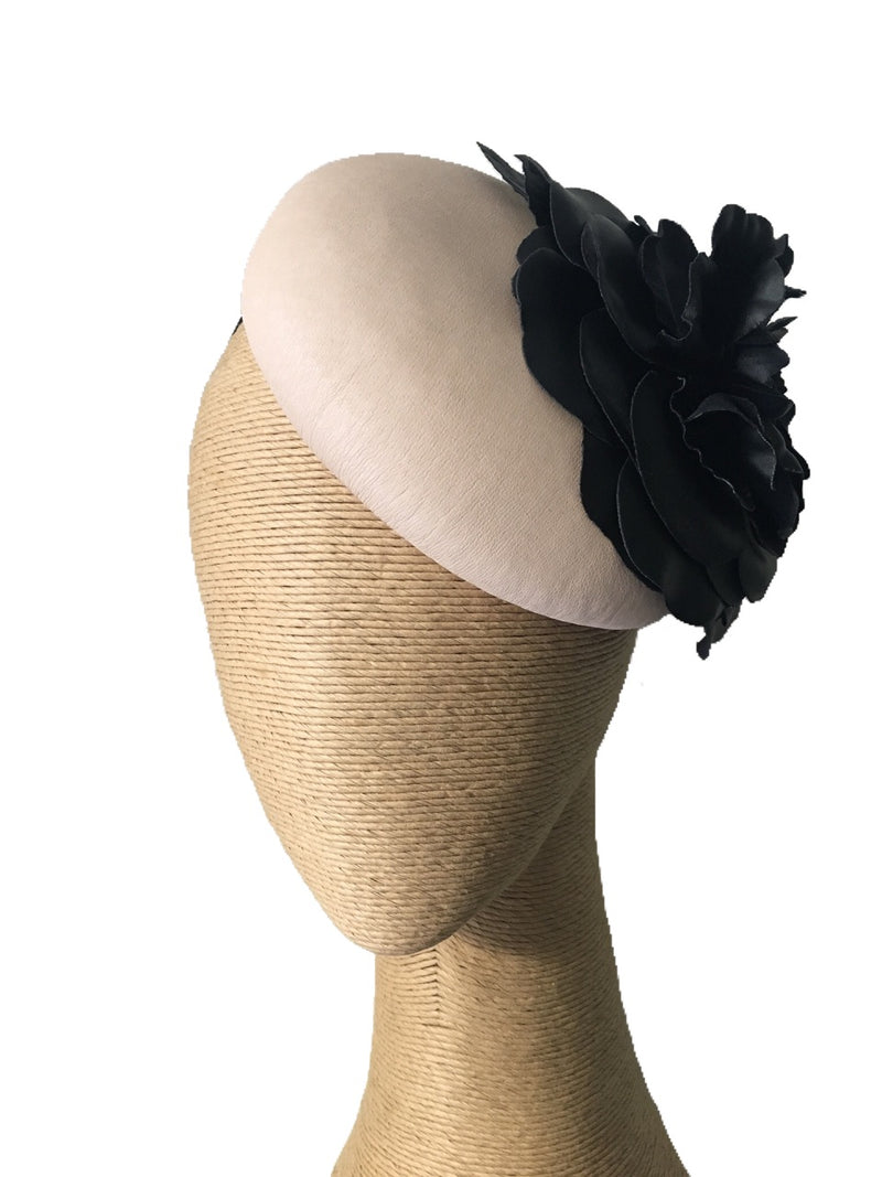 Max Alexander Button Leather Hat in Beige with Black Flower