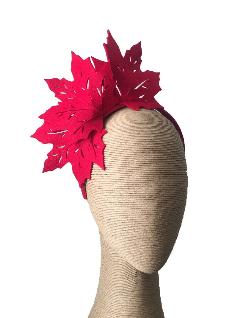 Max Alexander Jenny Leaf Fascinator in Red on a Headband