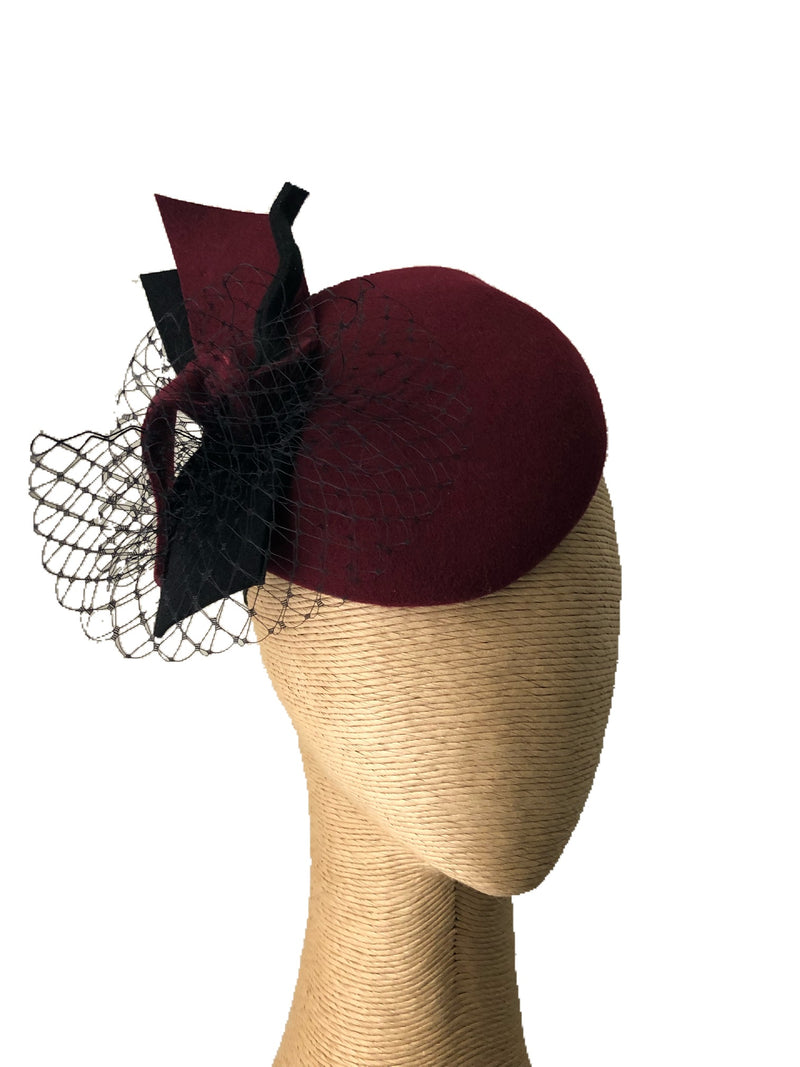 Max Alexander Vivian Button Hat in Wine & Black