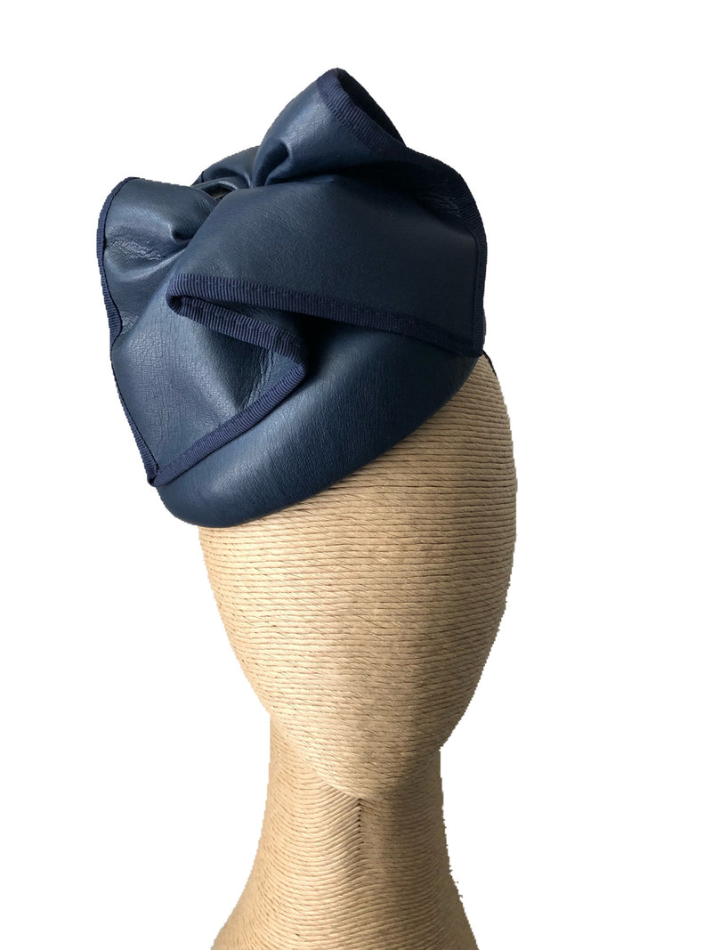 Max Alexander Florence Leather Hat in Navy