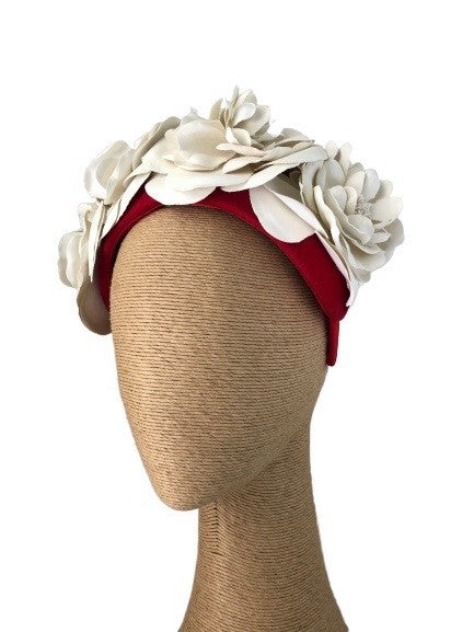 Max Alexander Rosetta headpiece in Red & Cream