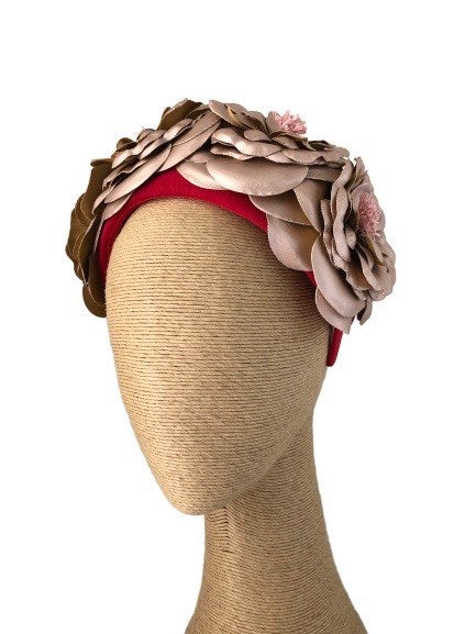 Max Alexander Rosetta headpiece in Red & Gold/Rose Gold