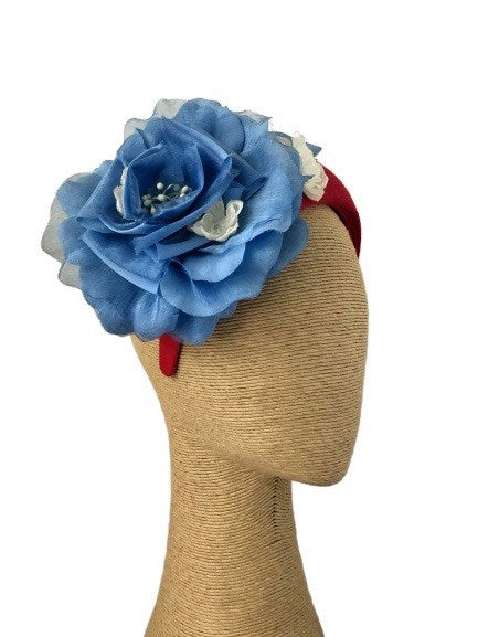 Max Alexander Lola Headpiece in Red with Blue & White Flowers