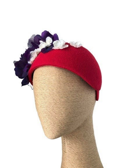 Max Alexander Ivy Headpiece in Red with Purple & White Flowers