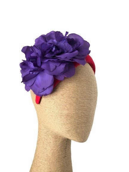 Max Alexander Joy Headpiece in Red with Purple Flowers