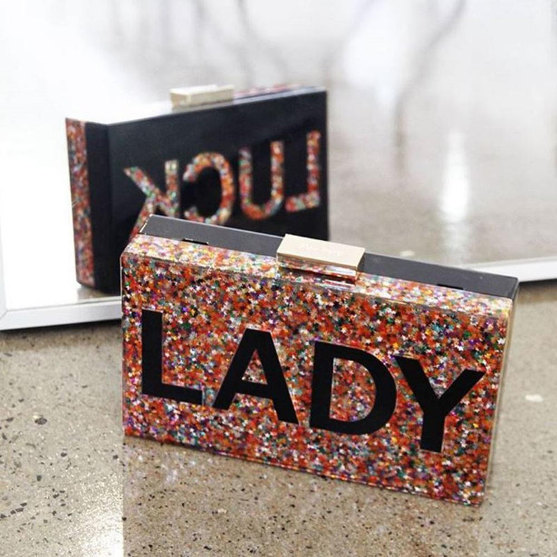 Olga Berg Lady Luck Glitter Acrylic Clutch in Black - Damaged