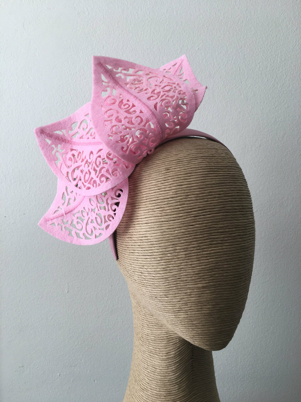 Max Alexander Cutout Leaf Crown in Baby Pink on a Headband