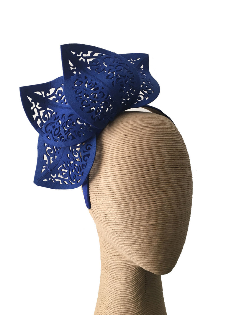Max Alexander Cutout Leaf Crown in Royal Blue on a Headband