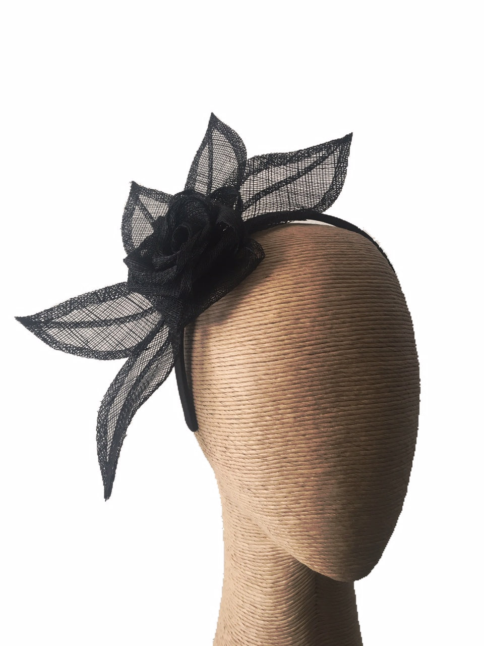Max Alexander Flower and Leaves Fascinator in Black on a Headband