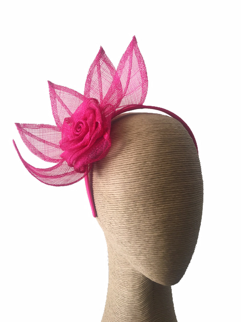 Max Alexander Flower and Leaves Fascinator in Fuchsia on a Headband