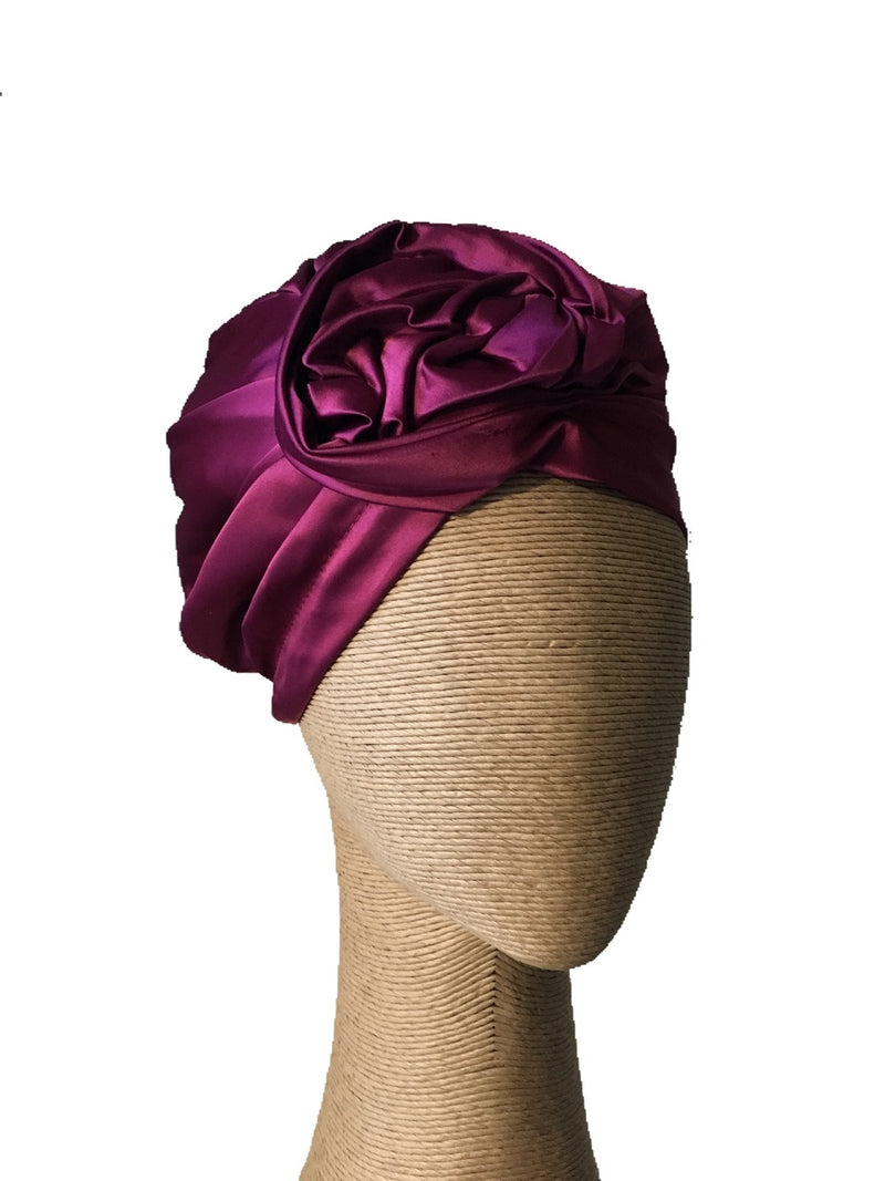 Max Alexander Magenta Turban with a Twisted Knot