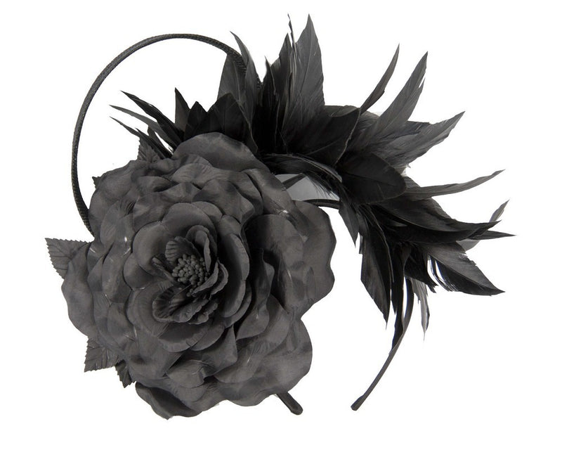 Max Alexander Valentina Feather Headpiece in Black