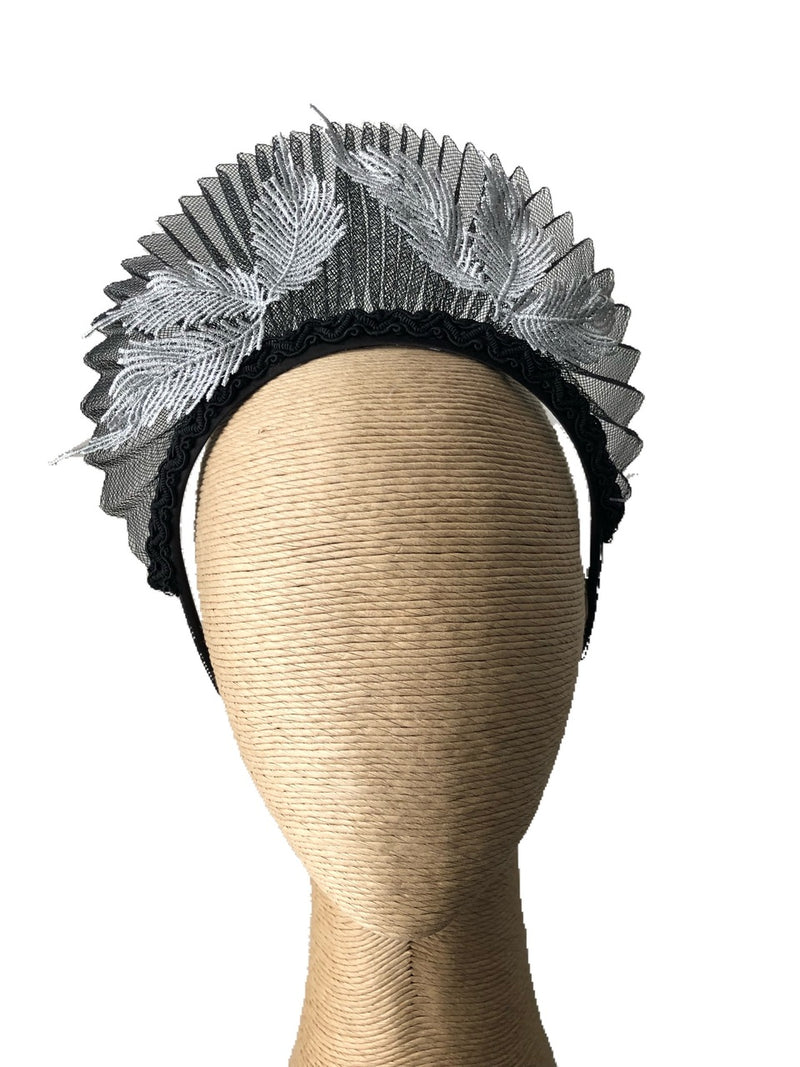 Max Alexander Geri Pleated Crinoline Crown in Black Silver