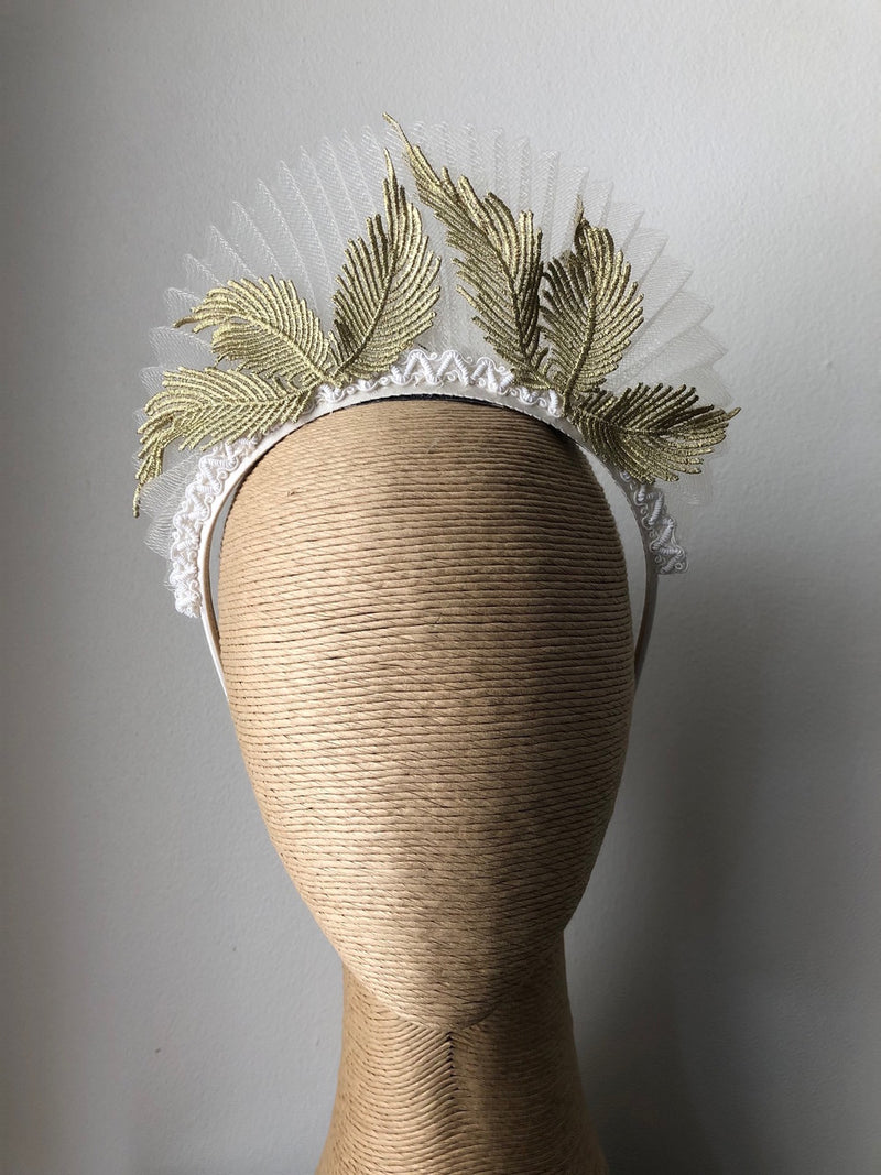 Max Alexander Geri Pleated Crinoline Crown in Cream Gold