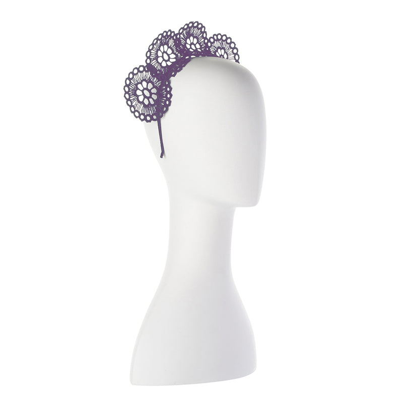 Olga Berg Claire Lace Headband in Lavender