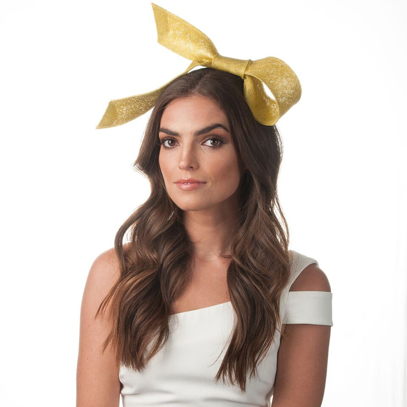 Olga Berg Danica Sinamay Bow Fascinator in Chartreuse