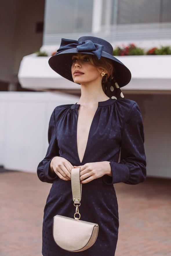 Morgan & Taylor Malika Droop Hat in Navy