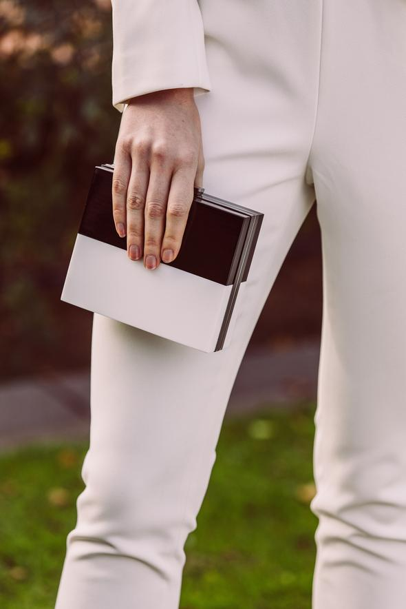 Morgan & Taylor Saisha Clutch in Black & White